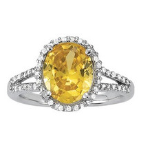 Citrine Diamond Ring set in 14k White Gold (.44ct)