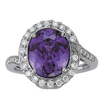 Amethyst Diamond Ring set in 14k White Gold (2.40ct AM)