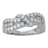3 Row Knot Diamond Ring set in 14k White Gold (.52ct)