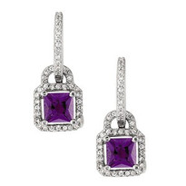 Square Amethyst Diamond Earring set in 14k White Gold (.42ct TW)