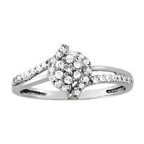 Diamond Cluster Ring set in 14k White Gold (.22ct)
