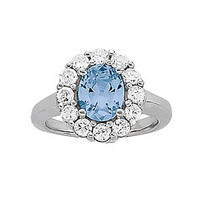Blue Topaz Diamond ring set in 14k White Gold (1.2ct)