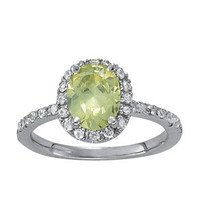 Oval Green Amethyst ring set in 14k White Gold (.28ct)