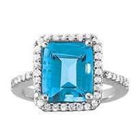 4.00ct Emerald cut Blue Topaz Diamond ring set in 14k White Gold (.30ct)