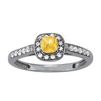 Cushion cut Citrine Diamond ring set in 14k White Gold (.16ct)