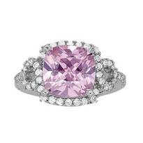 2.50 ct Pink Topaz Diamond ring set in 14k White Gold (.52ct)