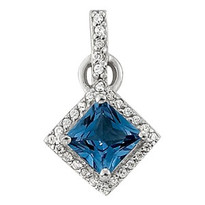 1.25ct Sapphire Diamond Pendant set in 14k White Gold (.10ct)