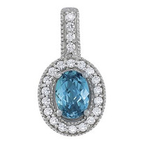 Oval Blue Topaz Diamond Pendant set in 14k White Gold (.20ct)