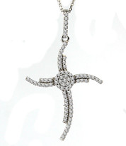 Fashion Diamond Cross Pendant set in 14k White Gold (.28ct)