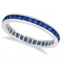 Princess-Cut Sapphire Eternity Ring Band 14k White Gold