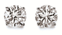 14k Gold Round Diamond Stud Earrings 1CT. TW. (H-I, -SI3 -I1)