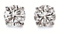 14k Gold Round Diamond Stud Earrings 1CT. TW. (H-I, -SI3 -I1)