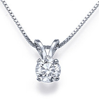 "14k Gold 4-Prong Diamond Solitaire Pendant with 16"" chain .33ct t.w. (H, SI2-SI3)"