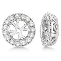 14k White Gold Vintage Round Cut Diamond Earring Jackets (0.27ct)