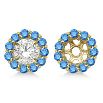 14K Yellow Gold Round Blue Diamond Earring Jackets for 5mm Studs (.77ct)