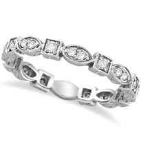 14k White Gold Antique Style Diamond Eternity Ring Band (0.36ct)