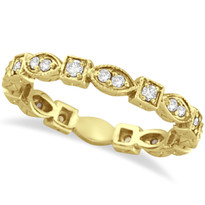 14k Yellow Gold Antique Style Diamond Eternity Ring Band (0.36ct)