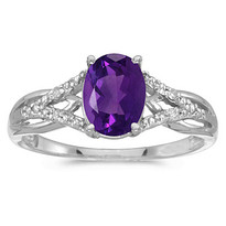 14K White Gold Oval Amethyst and Diamond Cocktail Ring (1.22ct t.w)