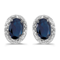 14k White Gold Blue Sapphire and Diamond Earrings  (1.20ct)
