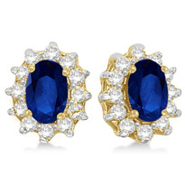 14k Yellow Gold Oval Blue Sapphire & Diamond Accents Earrings (1.05ct)