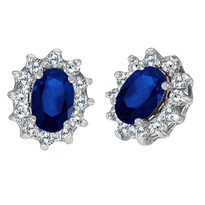 14k White Gold Oval Blue Sapphire & Diamond Accents Earrings (1.05ct)