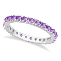 14K White Gold Amethyst Eternity Stackable Ring Band (0.75ct)