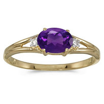 14K Yellow Gold Oval Amethyst & Diamond Right-Hand Ring (.45ct)