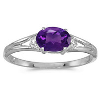 14K White Gold Oval Amethyst & Diamond Right-Hand Ring (.45ct)
