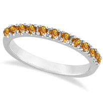 14k White Gold Citrine Stackable Band Anniversary Ring Guard  (.38ct)