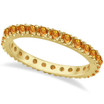 14K Yellow Gold Citrine Eternity Stackable Ring Band (.75ct)