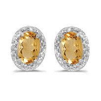 14k White Gold Diamond and Citrine Earrings (.94ct t.w)
