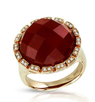 Ilano Jewelry - Red Agate Ring with Diamonds set in Sterling Silver (15.18ct t.w)
