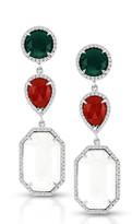 Ilano Jewelry - Red Green and White Agate Earrings in 14k White Gold (16.87ct t.w)