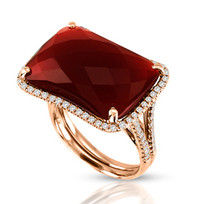 Ilano Jewelry - Emerald shaped Red Agate with Diamonds in 14k Rose Gold (14.34ct t.w)