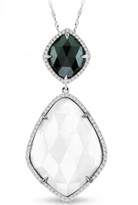 Ilano Jewelry - Black and White Agate Pendant with Diamonds in 14k White Gold (16.07ct t.w)