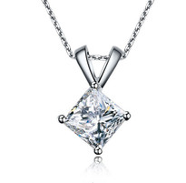 14k White Gold Princess Cut Diamond Pendant .25ct (1/4ct)