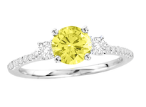 18k White Gold Yellow Diamond Engagement Ring .80ct t.w.