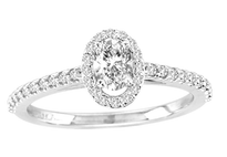 14k White Gold Oval Diamond Engagement Ring .70ct t.w
