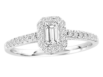 14k White Gold Emerald Cut Diamond Engagement Ring .52ct t.w