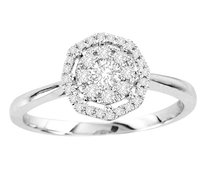 14k White Gold Octagon Diamond Engagement Ring .35ct t.w