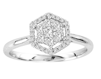 14k White Gold Hexagon Diamond Engagement Ring .35ct t.w