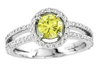 18k White Gold Yellow Diamond Engagement Ring (1.24ct t.w)