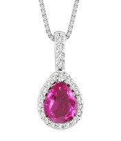"14k White Gold Pink Sapphire and Diamond Pendant (1.42ct t.w) with 16"" Chain"