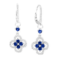 14k White Gold Sapphire Flower Earrings (1.52ct t.w)