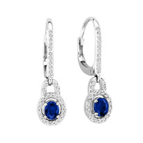 14k White Gold Oval Sapphire Earrings (1.42ct t.w)
