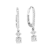 14k White Gold Diamond Lever Back Earrings (.64ct t.w)