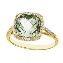 14k Yellow Gold Cushion Cut Green Amethyst and Diamond Ring (3.00ct t.w)