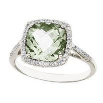 14k White Gold Cushion Cut Green Amethyst and Diamond Ring (3.00ct t.w)