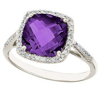 14k White Gold Cushion Cut Amethyst and Diamond Ring (3.00ct t.w)