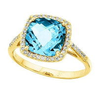 14k Yellow Gold Cushion Cut Blue Topaz and Diamond Ring (3.00ct t.w)